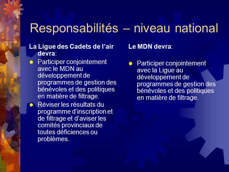 Responsabilités – niveau national