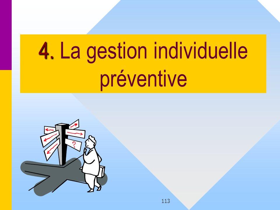 4. La gestion individuelle préventive