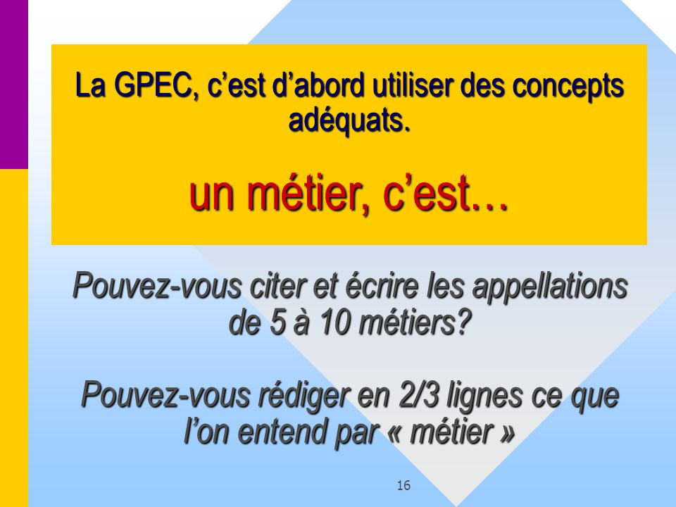 La GPEC, c'est d'abord utiliser des concepts adéquats
