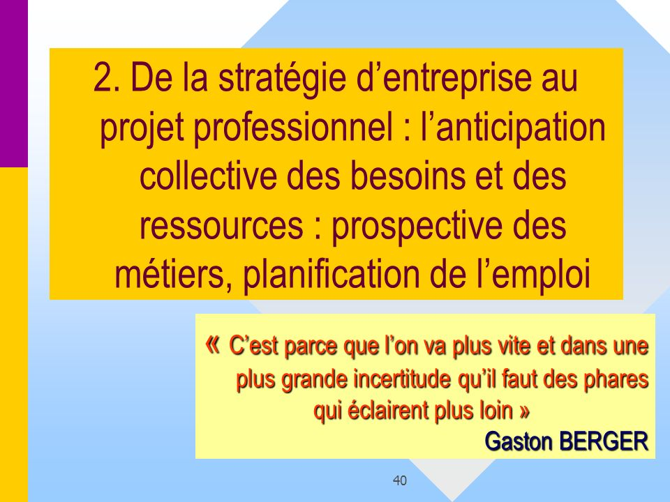 2. De la stratégie d'entreprise au projet professionnel : l'anticipation collective des besoins et des ressources : prospective des métiers, planification de l'emploi