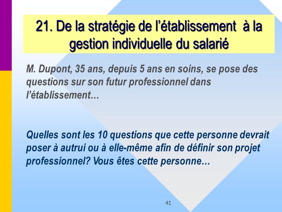 21. De la stratégie de l'établissement à la gestion individuelle du salarié