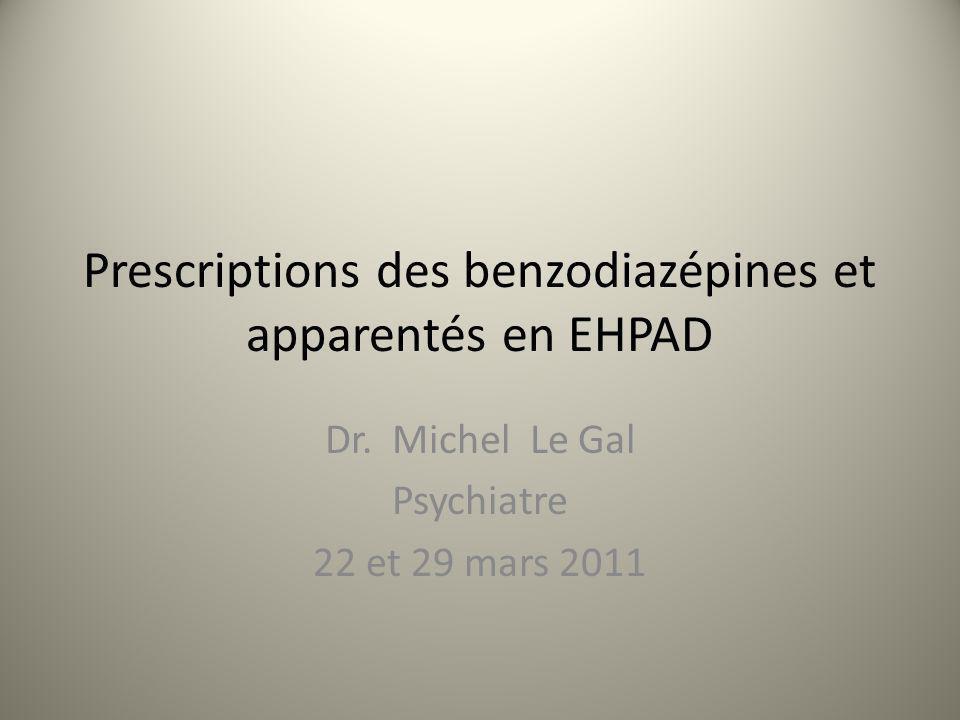 Prescriptions des benzodiazépines et apparentés en EHPAD