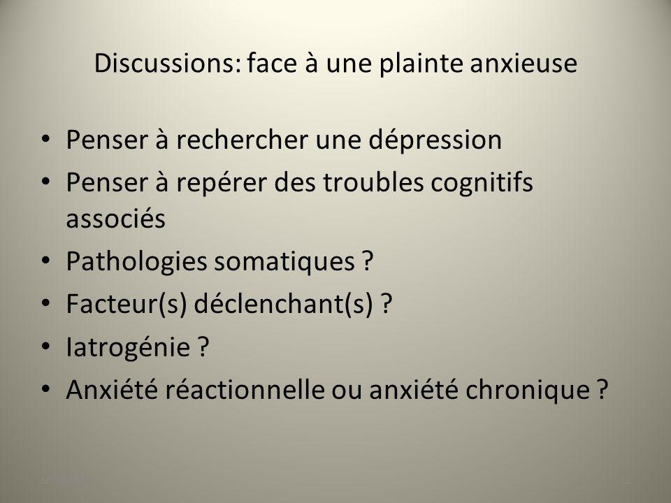 Discussions: face à une plainte anxieuse
