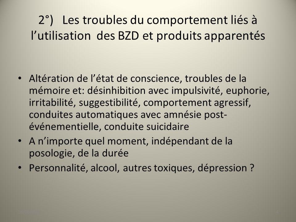 2°) Les troubles du comportement liés à l'utilisation des BZD et produits apparentés