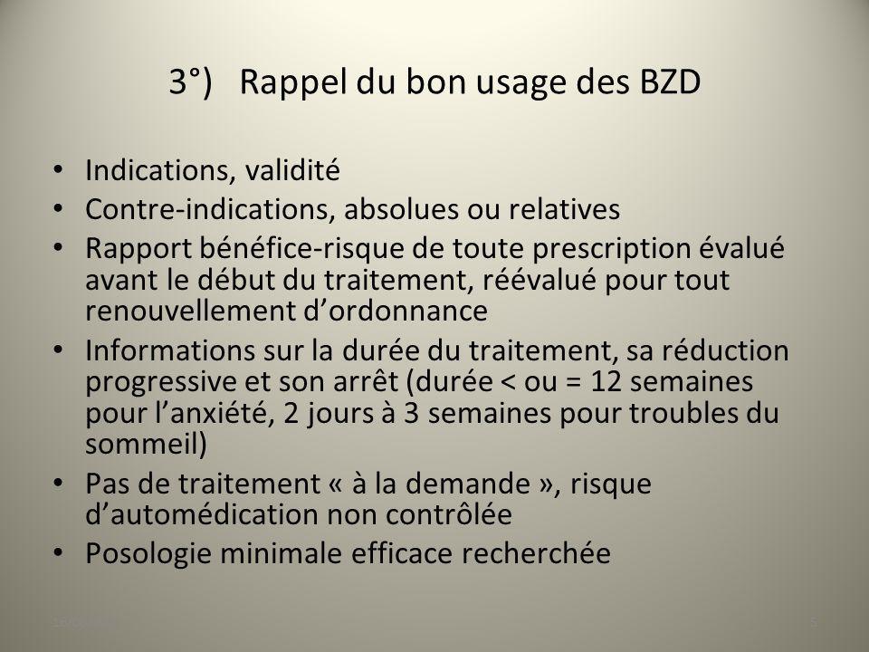 3°) Rappel du bon usage des BZD