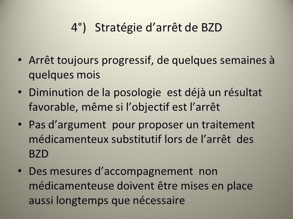 4°) Stratégie d'arrêt de BZD