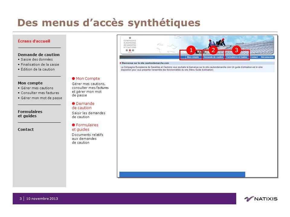 Des menus d'accès synthétiques