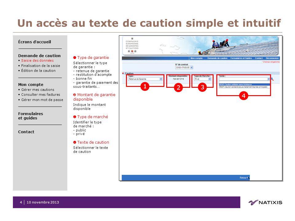 Un accès au texte de caution simple et intuitif