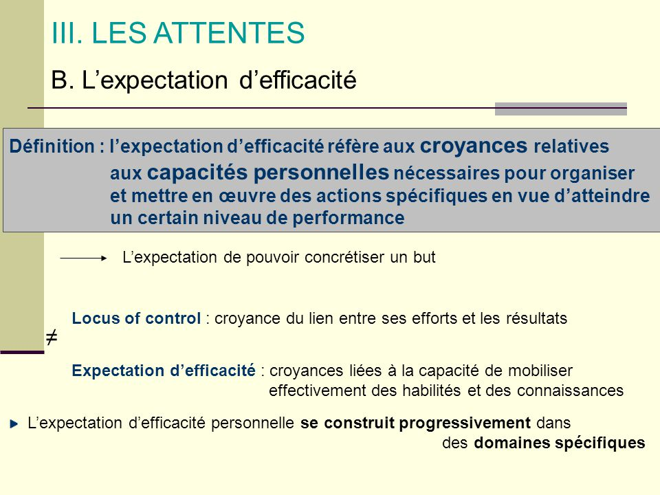 III. LES ATTENTES B. L'expectation d'efficacité ≠