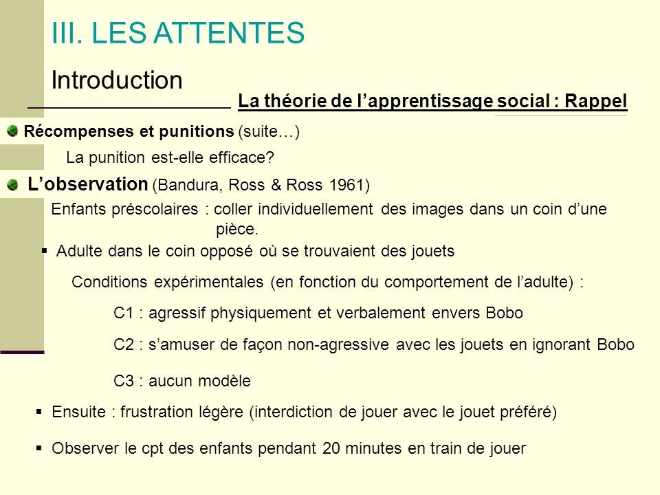 III. LES ATTENTES Introduction