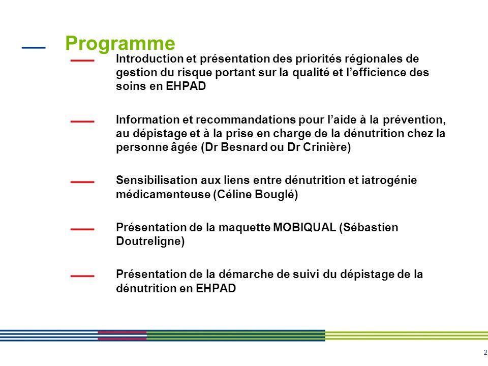 Programme Introduction et présentation des priorités régionales de gestion du risque portant sur la qualité et l'efficience des soins en EHPAD.