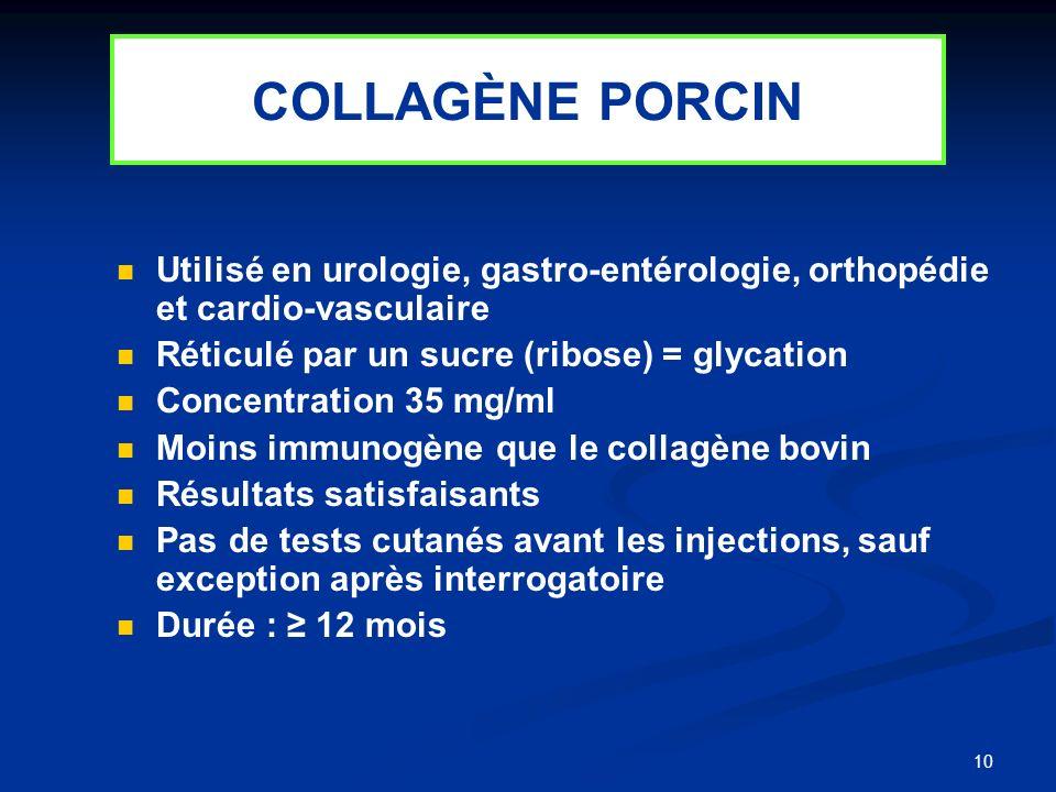 COLLAGÈNE PORCINUtilisé en urologie, gastro-entérologie, orthopédie et cardio-vasculaire. Réticulé par un sucre (ribose) = glycation.