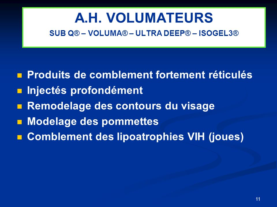 A.H. VOLUMATEURS SUB Q® – VOLUMA® – ULTRA DEEP® – ISOGEL3®