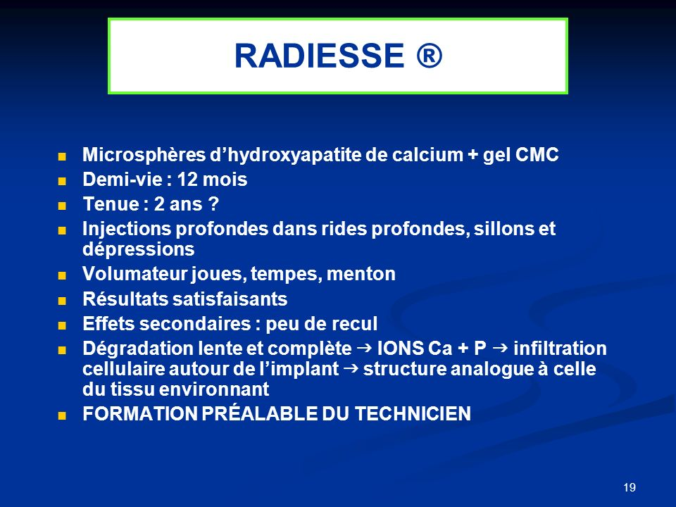 RADIESSE ® Microsphères d'hydroxyapatite de calcium + gel CMC