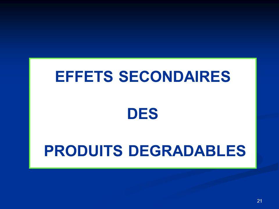 EFFETS SECONDAIRES DES PRODUITS DEGRADABLES