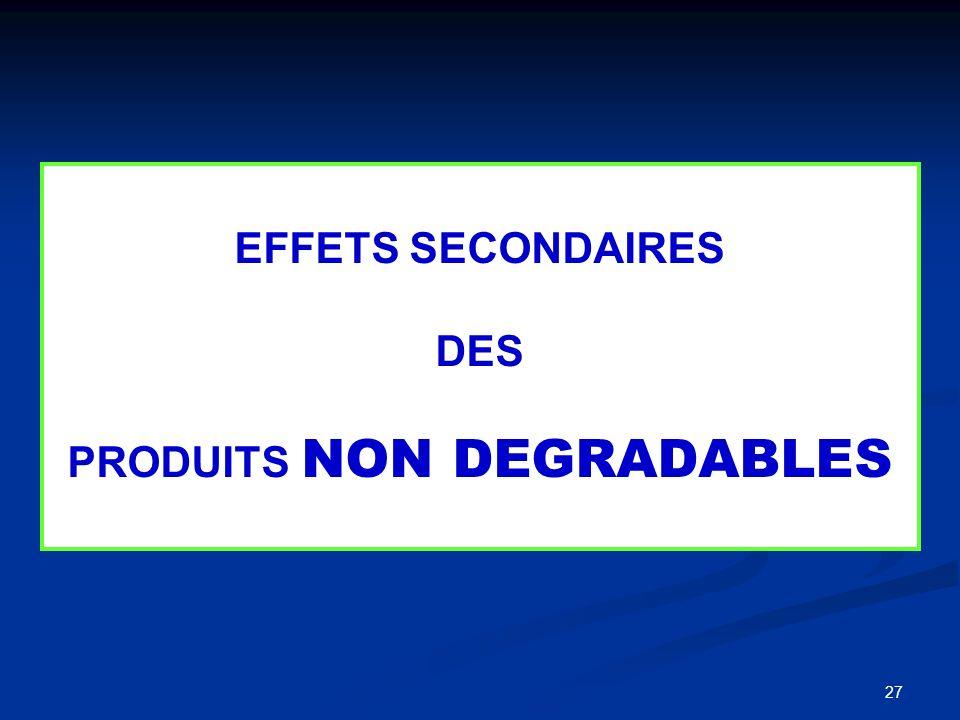 EFFETS SECONDAIRES DES PRODUITS NON DEGRADABLES