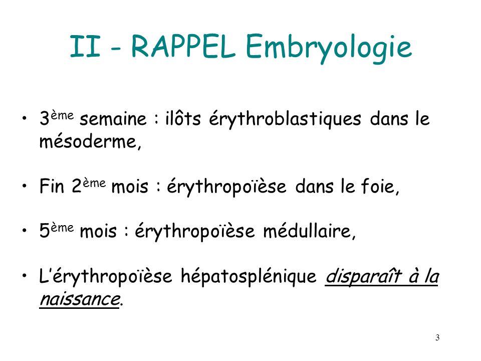 II - RAPPEL Embryologie