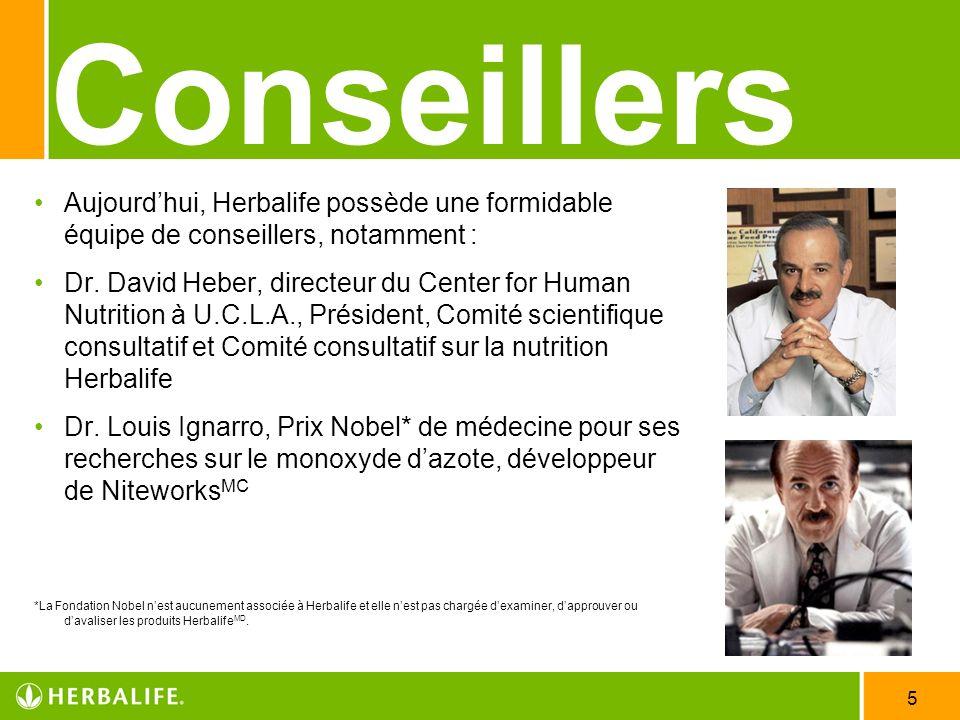 Employee Meeting - 20073/25/2017. Conseillers. Aujourd'hui, Herbalife possède une formidable équipe de conseillers, notamment :
