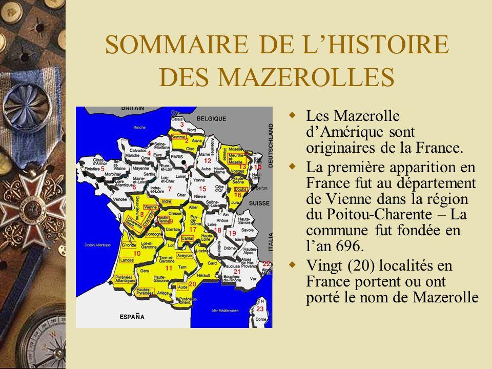 SOMMAIRE DE L'HISTOIRE DES MAZEROLLES