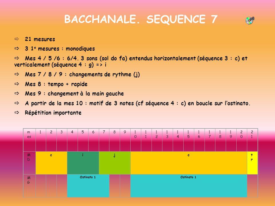 BACCHANALE. SEQUENCE 7 ð 21 mesures ð 3 1e mesures : monodiques