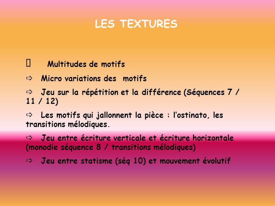 LES TEXTURES ð Multitudes de motifs ð Micro variations des motifs