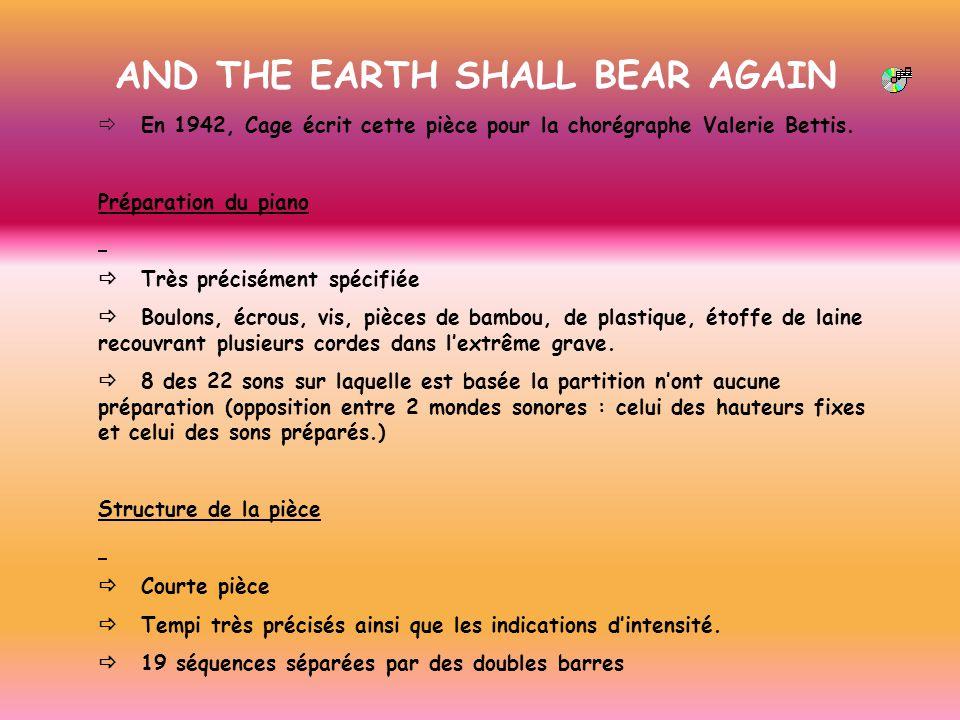 AND THE EARTH SHALL BEAR AGAIN