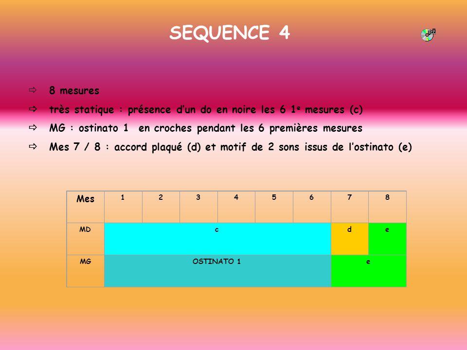 SEQUENCE 4 ð 8 mesures. ð très statique : présence d'un do en noire les 6 1e mesures (c)