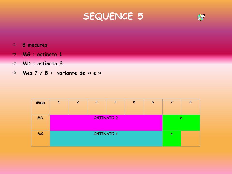 SEQUENCE 5 ð 8 mesures ð MG : ostinato 1 ð MD : ostinato 2