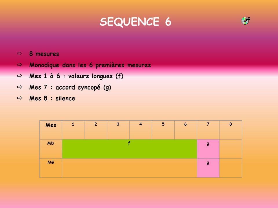SEQUENCE 6 ð 8 mesures ð Monodique dans les 6 premières mesures