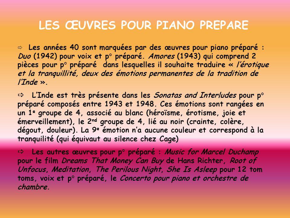 LES ŒUVRES POUR PIANO PREPARE