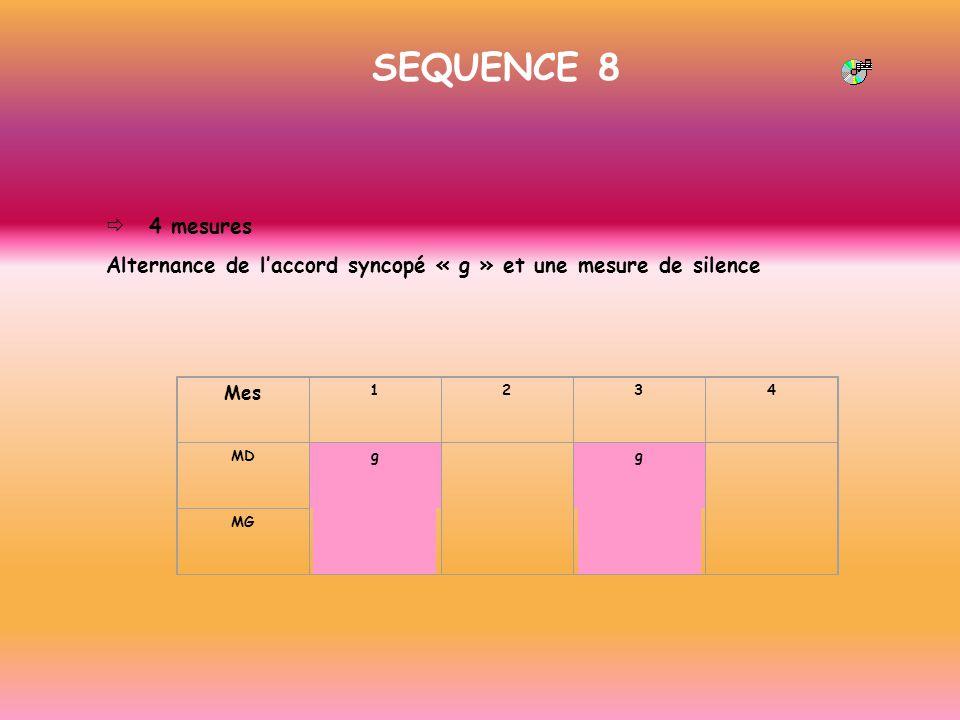 SEQUENCE 8 ð 4 mesures. Alternance de l'accord syncopé « g » et une mesure de silence. Mes. 1.