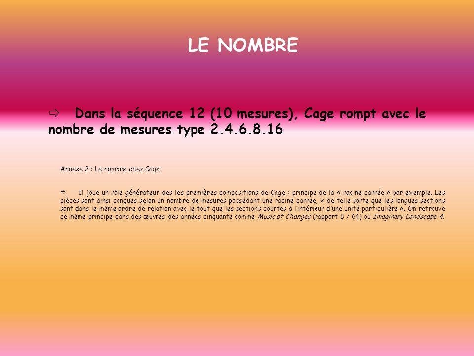 LE NOMBRE ð Dans la séquence 12 (10 mesures), Cage rompt avec le nombre de mesures type 2.4.6.8.16.
