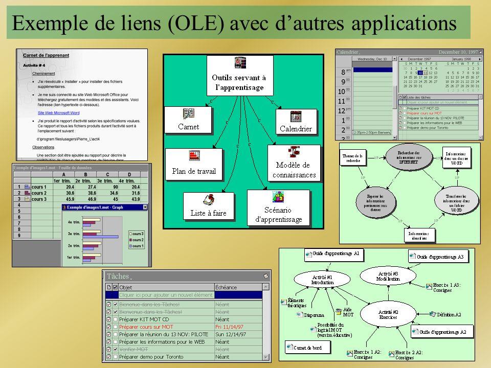 Exemple de liens (OLE) avec d'autres applications