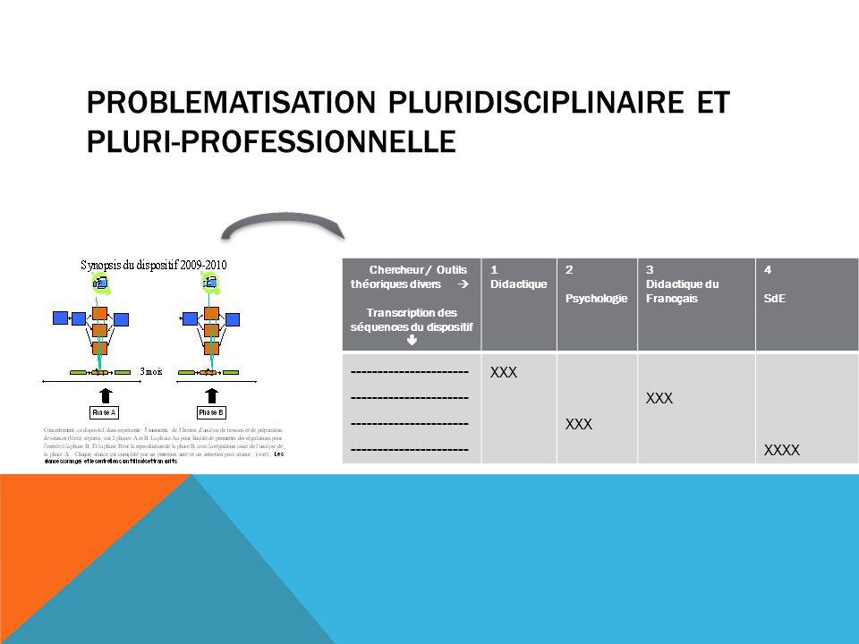 PROBLEMATISATION PLURIDISCIPLINAIRE ET PLURI-PROFESSIONNELLE