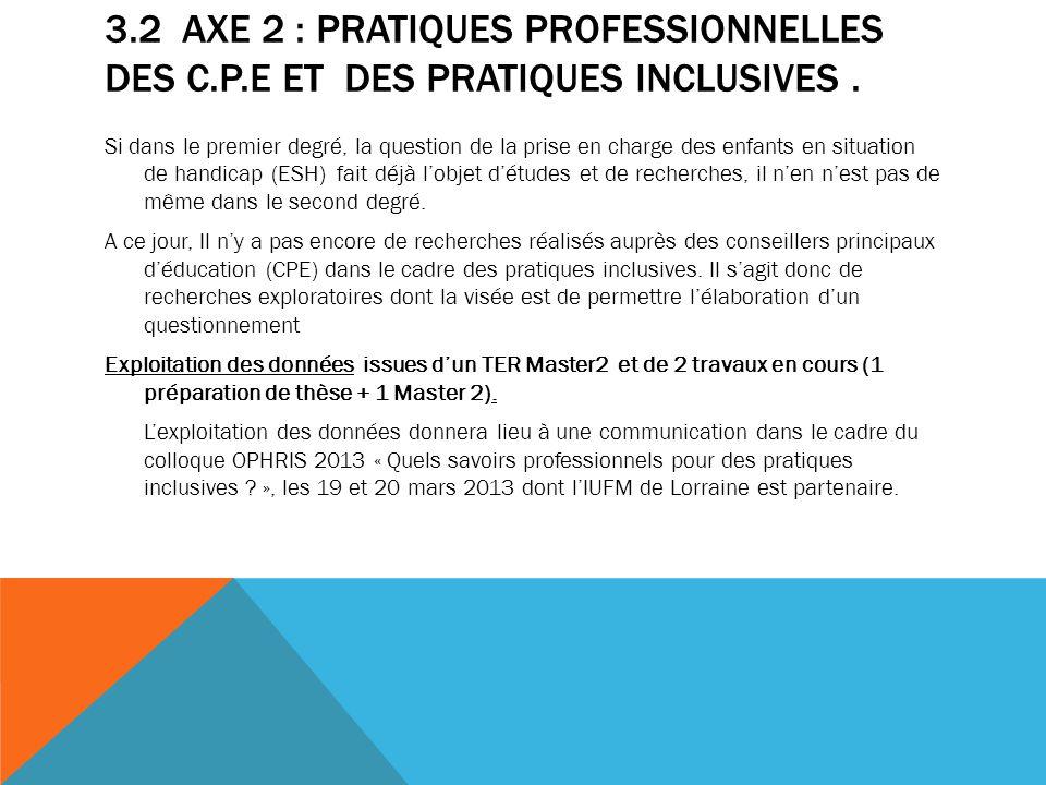 3. 2 Axe 2 : Pratiques professionnelles des C. P