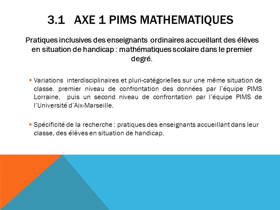 3.1 Axe 1 PIMS MATHEMATIQUES