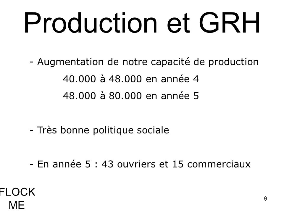 Production et GRH FLOCK ME