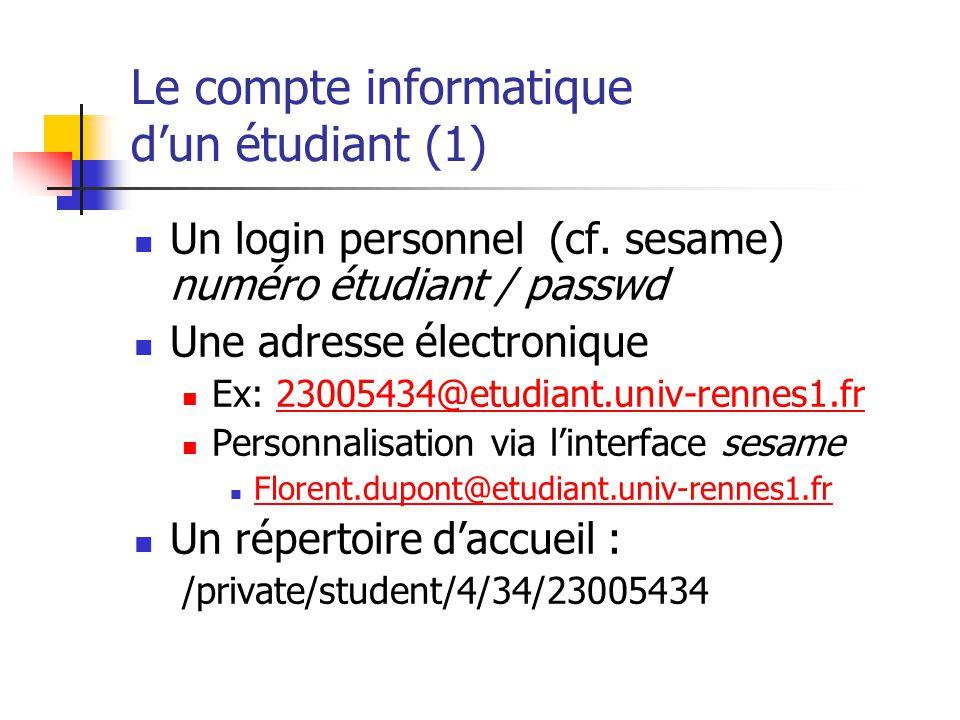 Le compte informatique d'un étudiant (1)