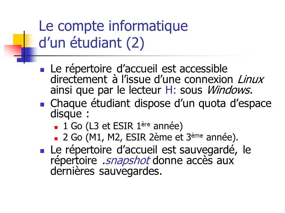 Le compte informatique d'un étudiant (2)