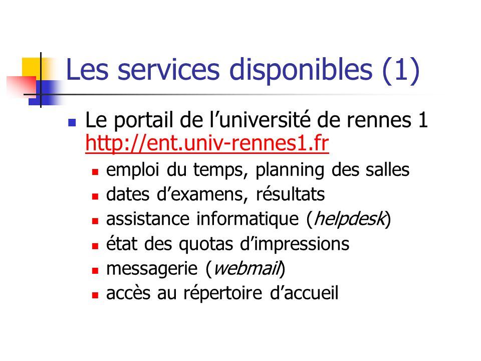 Les services disponibles (1)