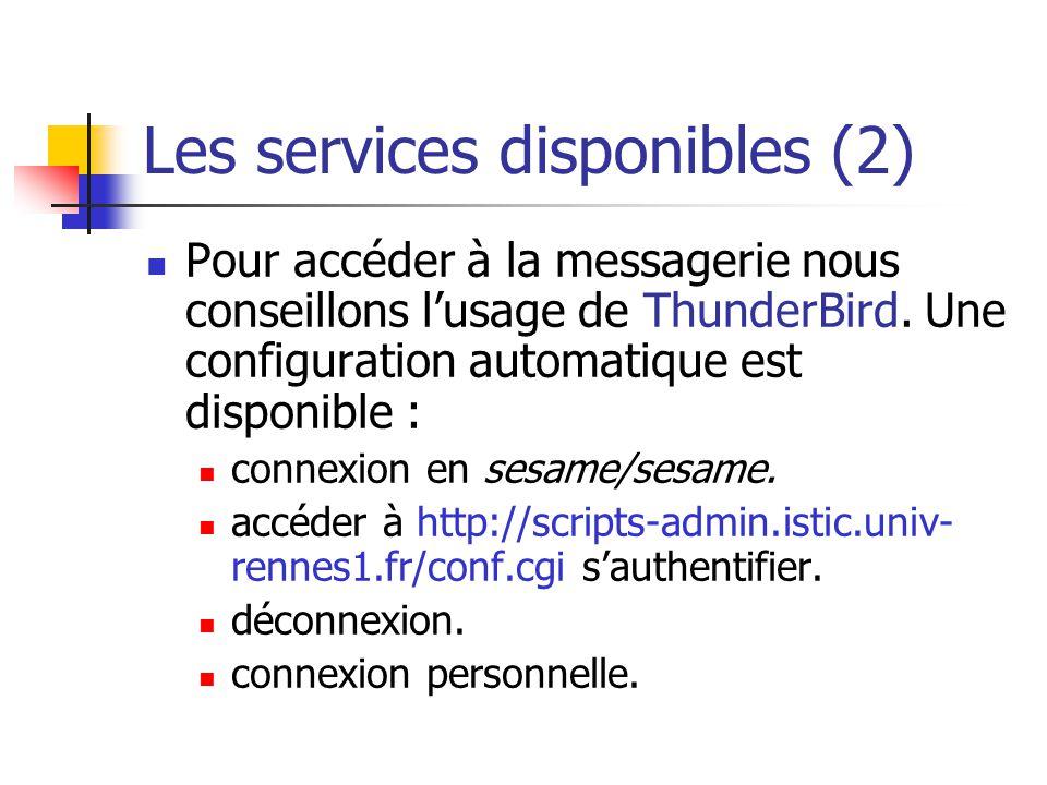 Les services disponibles (2)