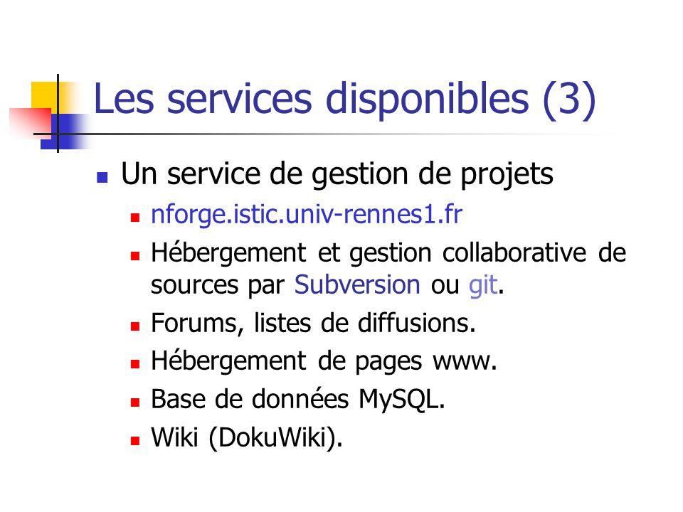 Les services disponibles (3)
