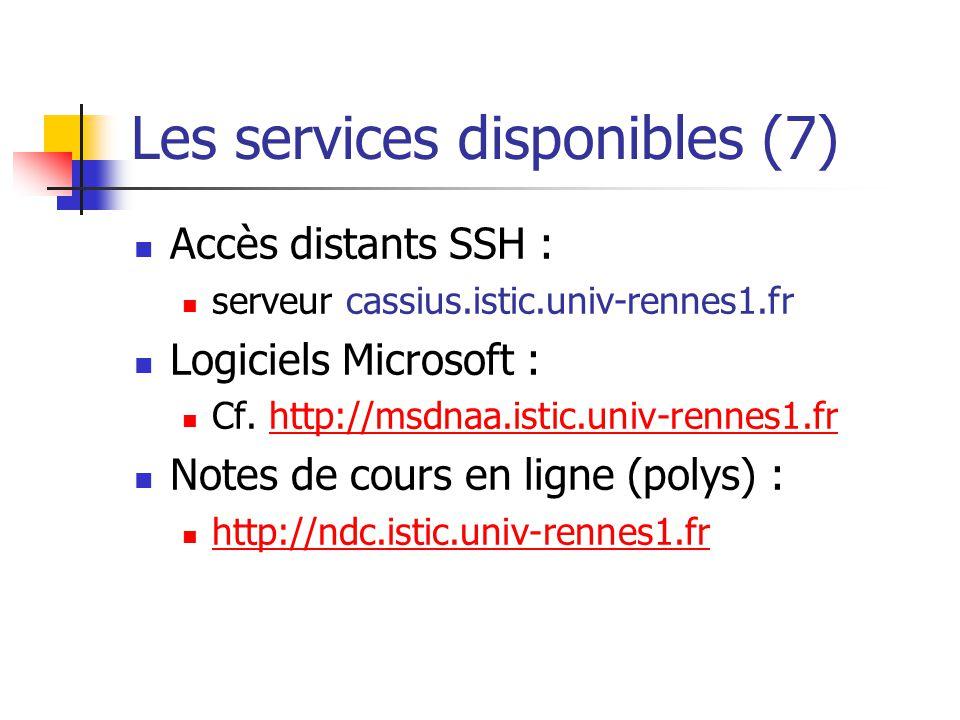 Les services disponibles (7)