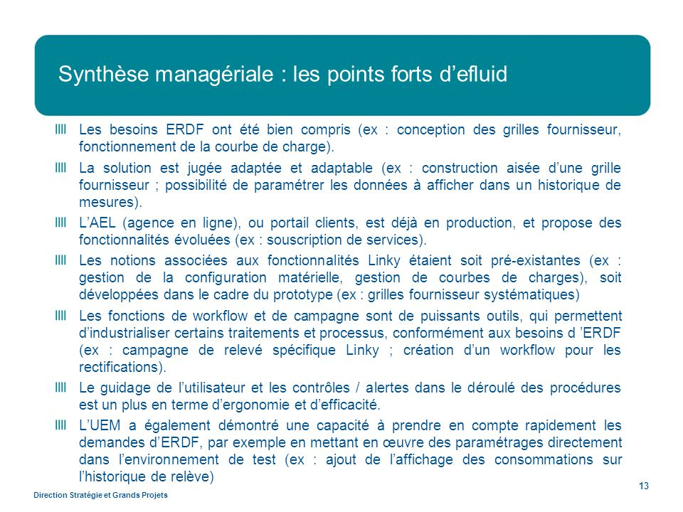 Synthèse managériale : les points forts d'efluid