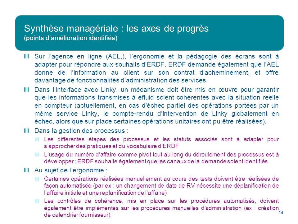Synthèse managériale : les axes de progrès (points d'amélioration identifiés)