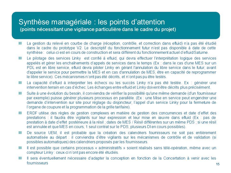 Synthèse managériale : les points d'attention (points nécessitant une vigilance particulière dans le cadre du projet)
