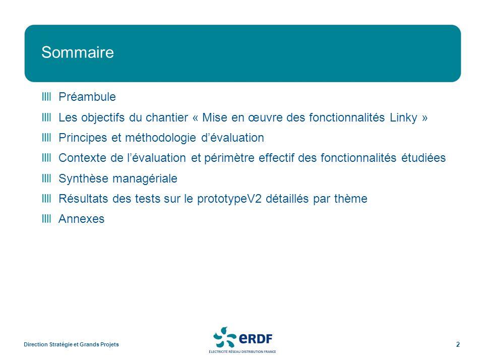 Sommaire Préambule. Les objectifs du chantier « Mise en œuvre des fonctionnalités Linky » Principes et méthodologie d'évaluation.