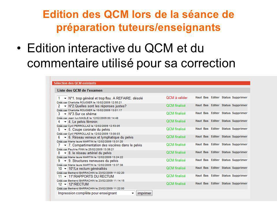 Edition des QCM lors de la séance de préparation tuteurs/enseignants