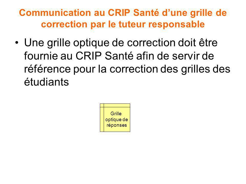 Communication au CRIP Santé d'une grille de correction par le tuteur responsable