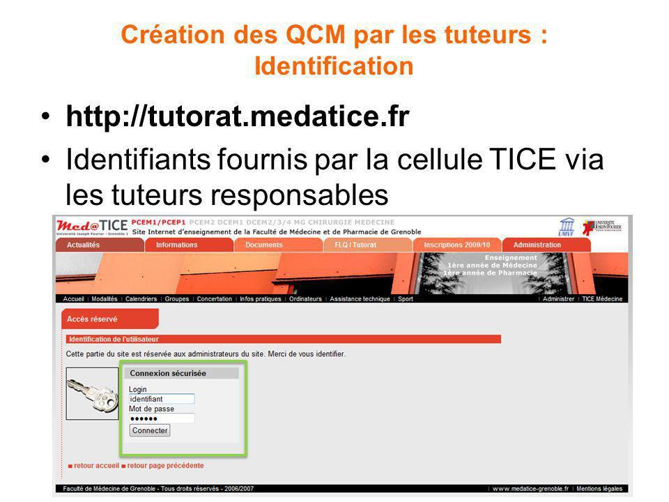Création des QCM par les tuteurs : Identification